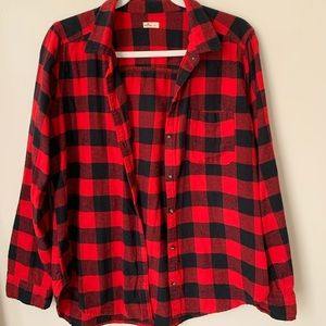 Hollister red and black flannel